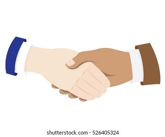 a vector cartoon representing two business men in suit shaking hands - agreement concept