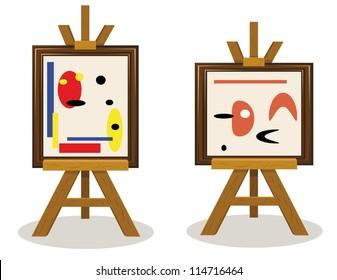 a vector cartoon representing two modern art pieces