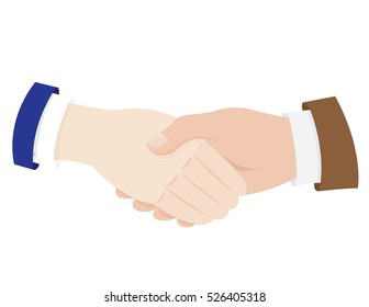 a vector cartoon representing two white business man in suit shaking hands - agreement concept