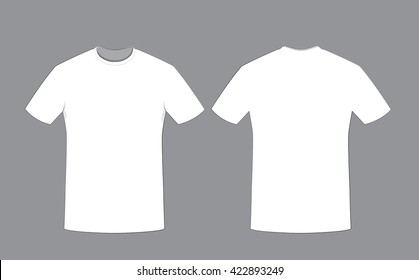 a vector cartoon representing a white cotton man t-shirt template on grey background, Front and back sides. Copy space.