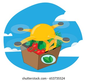 a vector cartoon representing a yellow shipping drone flying and delivering a fresh vegetables carton - online commerce and fast delivery concept