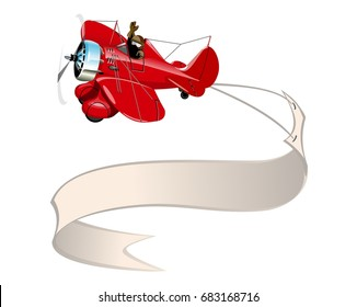 Vector Cartoon retro airplane with banner. Available EPS-10 vector format separated by groups and layers for easy edit