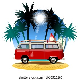 Vector cartoon retro camper. Available eps-10 vector format separated by groups with transparency effects for one-click repaint