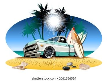 Vector cartoon retro camper pickup. Available eps-10 vector format separated by groups and layers for easy edit