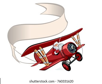 Vector Cartoon retro Christmas airplane with banner. Available EPS-10 vector format separated by groups and layers for easy edit