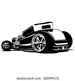 Vector Cartoon Retro Hot Rod