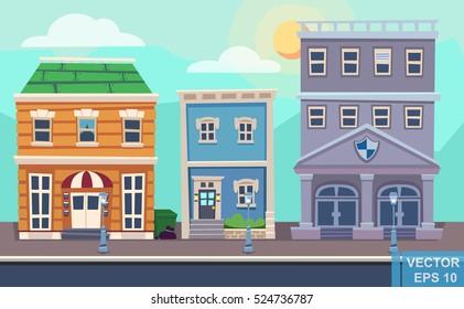 Vector cartoon retro illustration city houses facades landscape. Day cityscape.