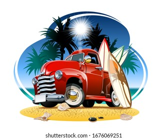 Vector cartoon retro pickup on beach. Available EPS-10 vector format separated by groups and layers