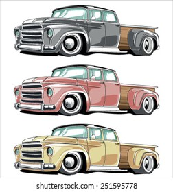 Vector Cartoon Retro Pickup set