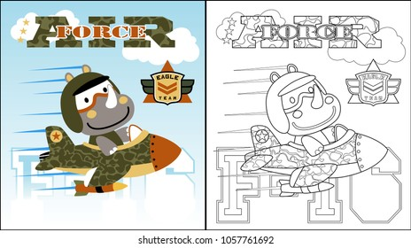 vector cartoon of Rhino on plane, coloring book or page