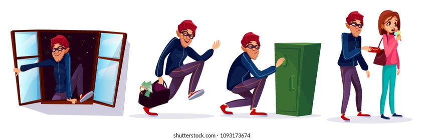 Vector cartoon robber, thief characters set. Burglar running with stolen money, jewelry bag, housebreaker entering house through window, man breaking safe box, pickpocket stealing wallet woman purse
