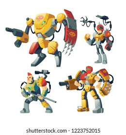 Vector cartoon robot guards, human in exoskeleton armor. Battle androids with artificial intelligence isolated on white background for games. Futuristic soldiers, toys in robotic, mechanical equipment