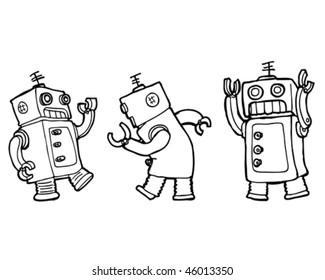 Vector cartoon robots dancing the robot (line)