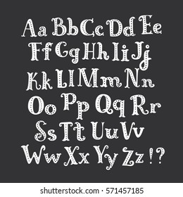 Vector cartoon roman alphabet. White hand drawn letters set on dark background. Funny white abc decorated with dots on black background