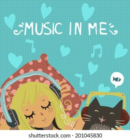 Vector cartoon romantic illustration of young girl with cute funny cat listening music in headphones. For ui, web games, tablets, wallpapers, and patterns.