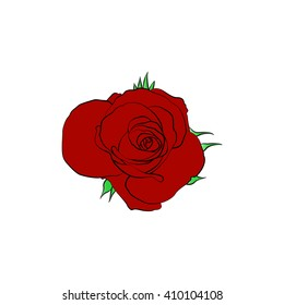Vector cartoon rose on white background.