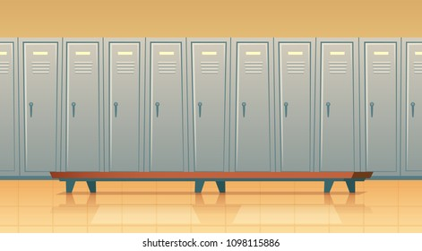Vector cartoon row of individual lockers or changing room for football, basketball team or workers. Dressing of sports, work uniform, training equipment or athletic costume. School gym, background