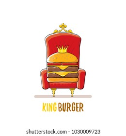 vector cartoon royal king burger with cheese and golden crown sitting on the throne isolated on white. Gourmet burger, hamburger, cheeseburger label design element. burger house logo menu concept
