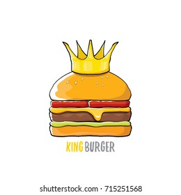 vector cartoon royal king burger with cheese and golden crown icon isolated on white background. Gourmet burger, hamburger, cheeseburger label design element. Fast food or burger house logo concept