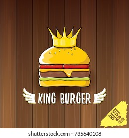 vector cartoon royal king burger with cheese and golden crown icon isolated on on wooden table background. Gourmet burger, hamburger, cheeseburger label design element. burger house logo menu concept