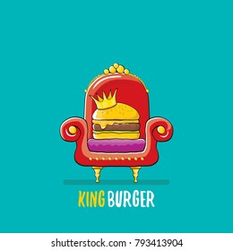 vector cartoon royal king burger with cheese and golden crown sitting on the throne. Gourmet burger, hamburger, cheeseburger label design element. burger house logo menu concept