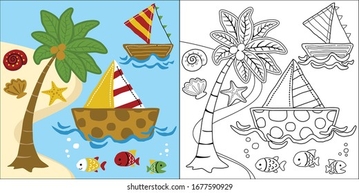 vector cartoon of sailboat in the beach, coloring book or page