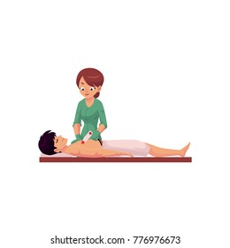 vector cartoon salon hair removal scene. Woman therapist in professional cosmetology beauty clinic removing hair from chest of young man by laser. Isolated illustration on a white background