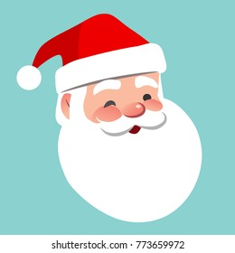 Vector cartoon Santa Claus character portrait illustration. Friendly smiling winking Santa isolated on aqua blue. Christmas winter holiday design element for posters, cards, banners in flat style