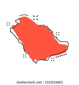 Vector cartoon Saudi Arabia map icon in comic style. Saudi Arabia sign illustration pictogram. Cartography map business splash effect concept.