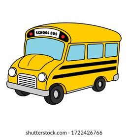 Vector Cartoon School Bus Illustration