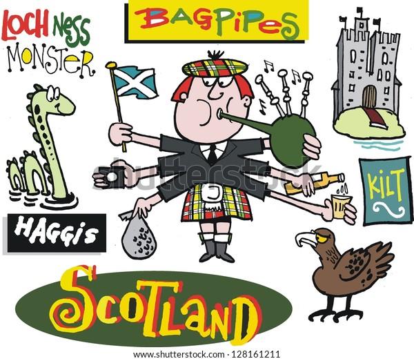 Vector Cartoon Scotsman Loch Ness Monster Stock Vector Royalty Free 128161211