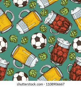 Vector cartoon seamless pattern of beer glass mug and soccer ball. Graphic texture for football pub. For web, poster, invitation to beer party or watching a sports mat