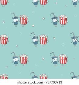 Vector cartoon seamless pattern with boy soda cup drink and popcorn girl