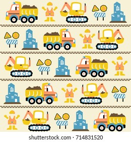 vector cartoon seamless pattern with construction vehicles, construction signs, worker uniform, buildings.