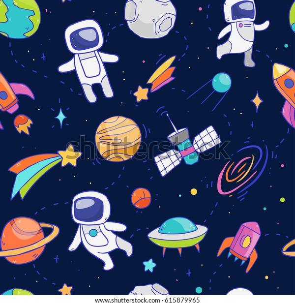 Vector cartoon seamless pattern with cosmos elements like galaxy, astronaut, stars, spaceship, moon and so on