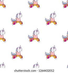 Vector cartoon seamless pattern with cute magical unicorn doing yoga exercises and meditation on white background
