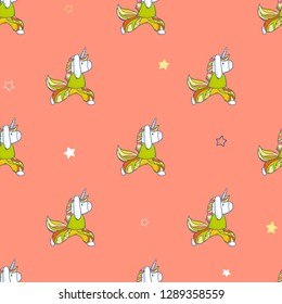 Vector cartoon seamless pattern with cute magical unicorn doing yoga exercises and meditation