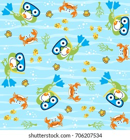vector cartoon seamless pattern with cute animals. Swamp life with frog, crab, fishes, shellfish.