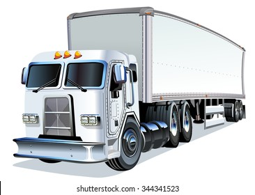 Vector Cartoon Semi Truck. Available EPS-10 vector format separated by groups and layers for easy edit