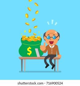 Vector cartoon senior man earning money