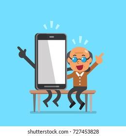 Vector cartoon senior man and smartphone character