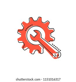 Vector cartoon service tool icon in comic style. Cogwheel with wrench sign illustration pictogram. Workshop business splash effect concept.