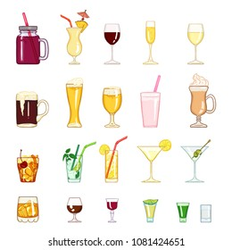 Vector Cartoon Set of Alcohol and Soft Drinks, Liquors, Cocktails.