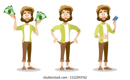 Vector cartoon set of bearded hipster male character. Hippie guy wearing hat and urban style clothes. Character with banknotes of money in his hands, have no money at all, holding a plastic card.