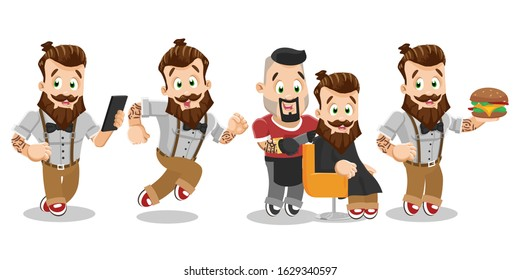 Vector cartoon set with bearded hipster with tattoo in different situations. Young sportive man using smartphone, running, hurry up, sitting in barber chair, keeping hamburger. Stylish waiter.