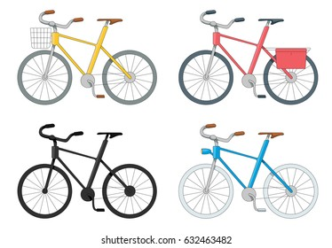 vector cartoon set of bicycles