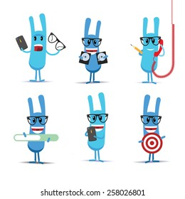 Vector cartoon set of  blue rabbits characters