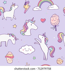 Vector cartoon set collection seamless pattern with unicorns, sweets,stars, clouds and rainbow