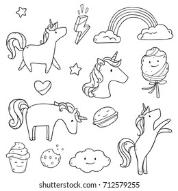 Vector cartoon set collection with unicorns, sweets,stars, clouds and rainbow