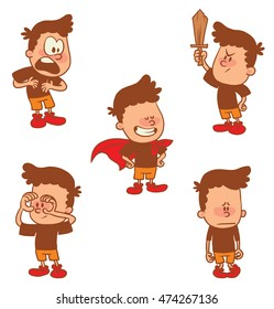 Vector cartoon set of cute little boys: in a cloak, holds hands around his eyes like binoculars, guilty, with wooden sword, proving his innocence on white background. Color image with a brown tracings
